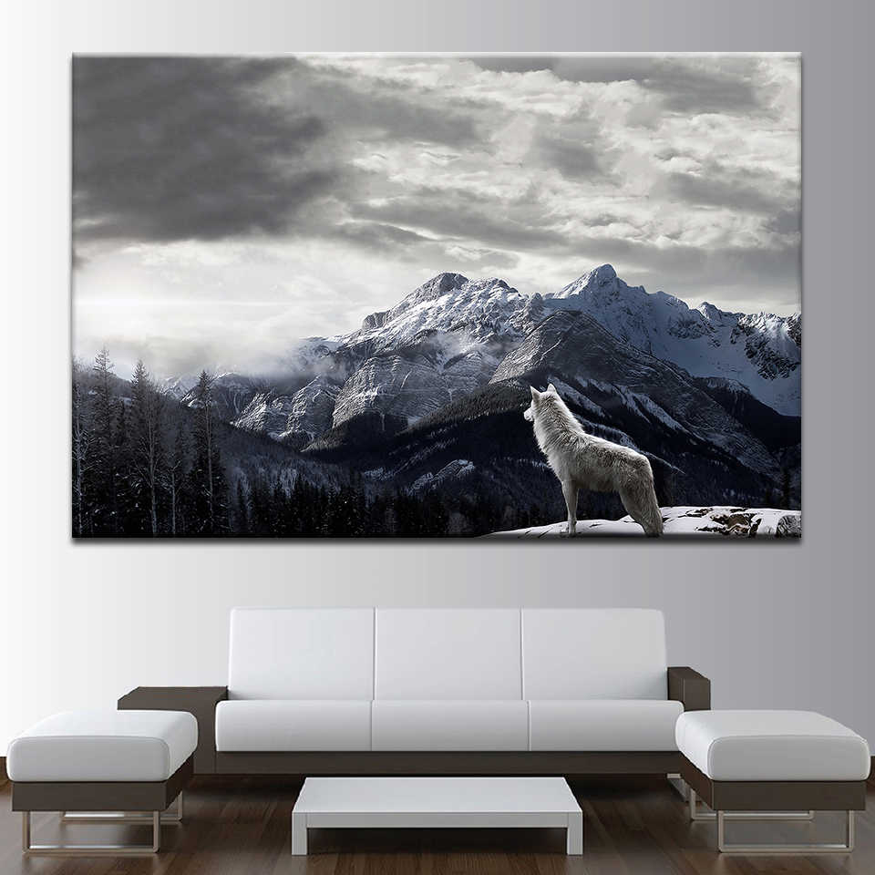 Home Decoration HD Printed Modular Pictures Vintage Animal Wolf Popular Mountain Wall Art Paintings On Canvas For Living Room