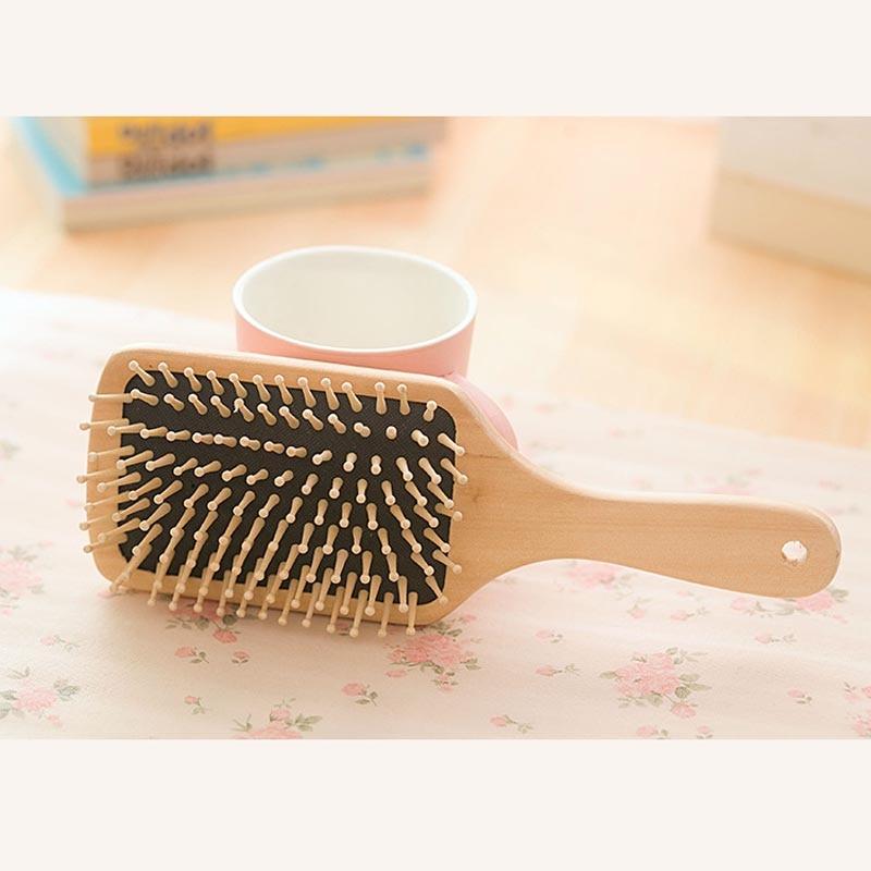 Hair Comb Brush Natural Bristle Anti-statisk Curly Wood Handle - Hårvård och styling - Foto 4