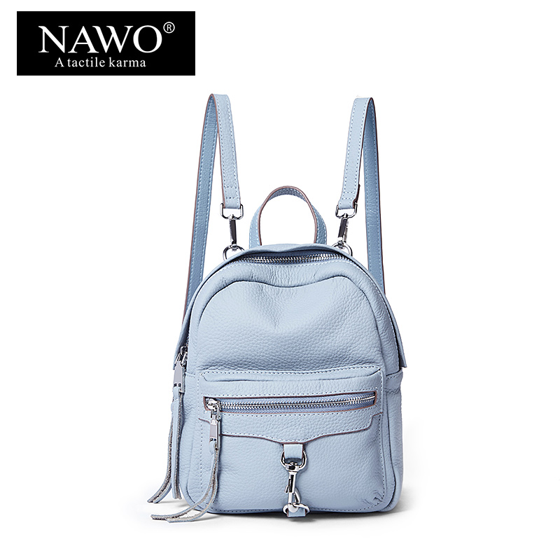NAWO Real Genuine Leather Women Backpack Mini School Bags For Girls Fashion Preppy Style School Backpack For Teenager Sac A Dos