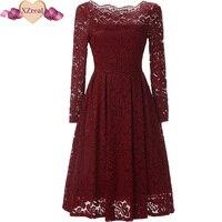 Summer Women Crochet Lace Dress Retro Tunic Vintage Dress Elegant Rockabilly V Neck Party Dresses Big