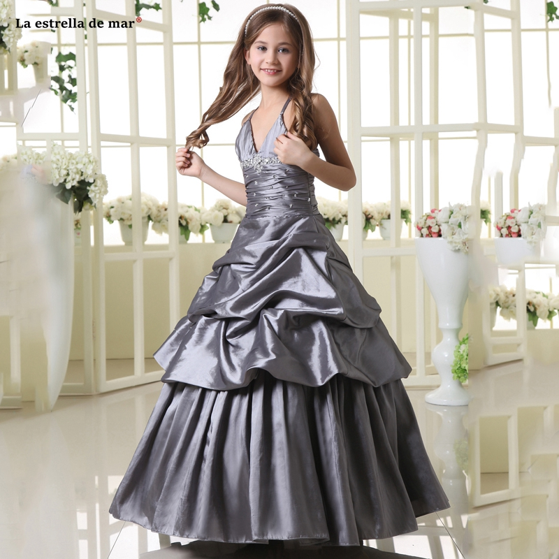 Pageant   dresses   for   girls   new satin sexy V neck crystal A Line silver gray   flower     girl     dress   long communion   dresses