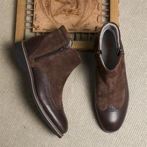 Image 5 - الشتاء الرجال الأحذية جلد طبيعي البقر المدبوغ الكاحل تشيلسي الأحذية حذاء رجالي اليدوية أكسفورد أحذية للرجال أحذية بوت قصيرة أحذية 2020