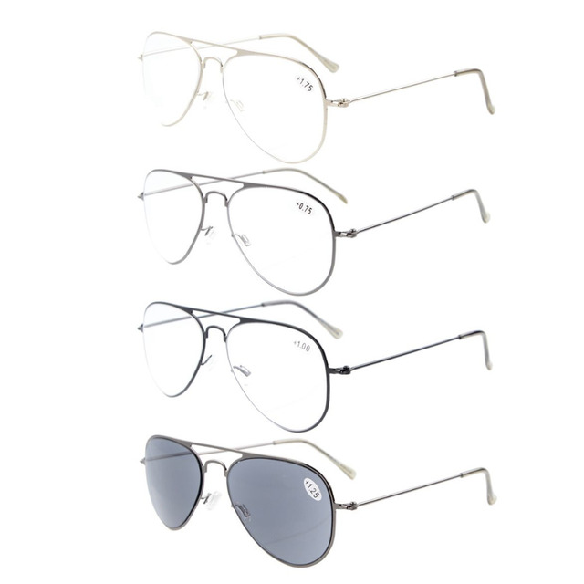 9645c579573b RS15016 Mix 4-pack Eyekepper Classical Stainless Steel Frame Reading Glasses  include Sun Readers +0.50----+4.00