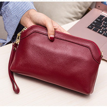 Designer clutch women leather handbags red genuine cow leather handbag with strap high quality small clutches bag female