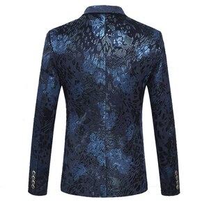 Image 2 - Shenrun Männer Floral Blazer Navy Blau Wein Roten Anzug Jacke Slim Fit Blazer Sänger Jacken Host Bühne Kostüm Musiker Größe m 6XL