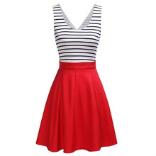 Fashion Stripe Print dress Summer Europe Russia New Trend Women lady red blue sleeveless High waist patchwork Pleated Ball Gown