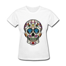 a07fc2a3 Custom T-Shirt Women Novelty Mexican Skull tshirt Clothing Summer Sugar  Skull t shirts Women