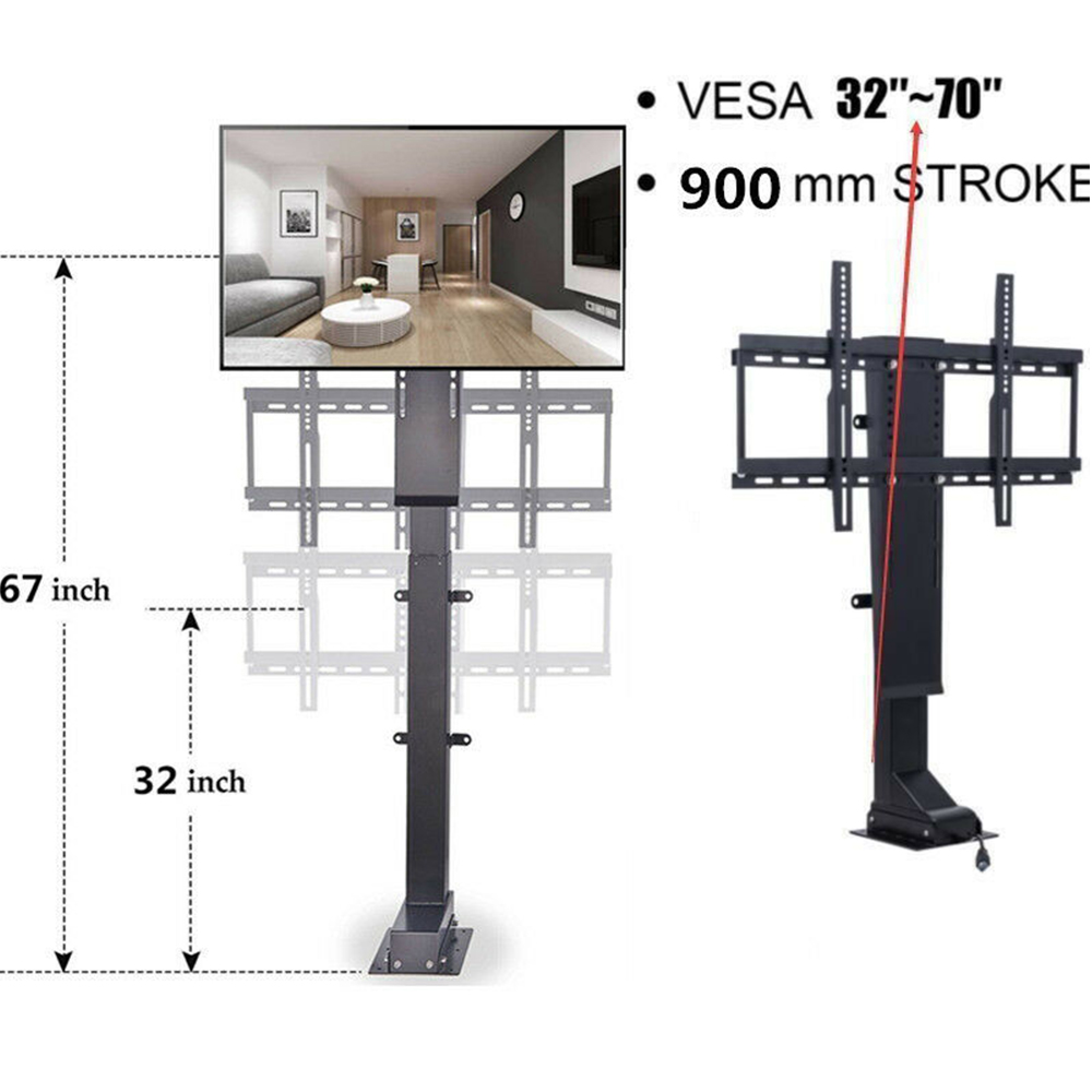 Brackets & Clamps 900mm 700n 30 To 60 Electric Motorized Tv Lift Mount Bracket & Remote Control Hardware