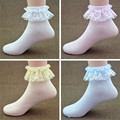 The New 2016 Lace Solid Color Frilly Short Socks Summer Cozy Breathable Girls Princess Mesh Cotton Sock 4 Pairs Random Or white