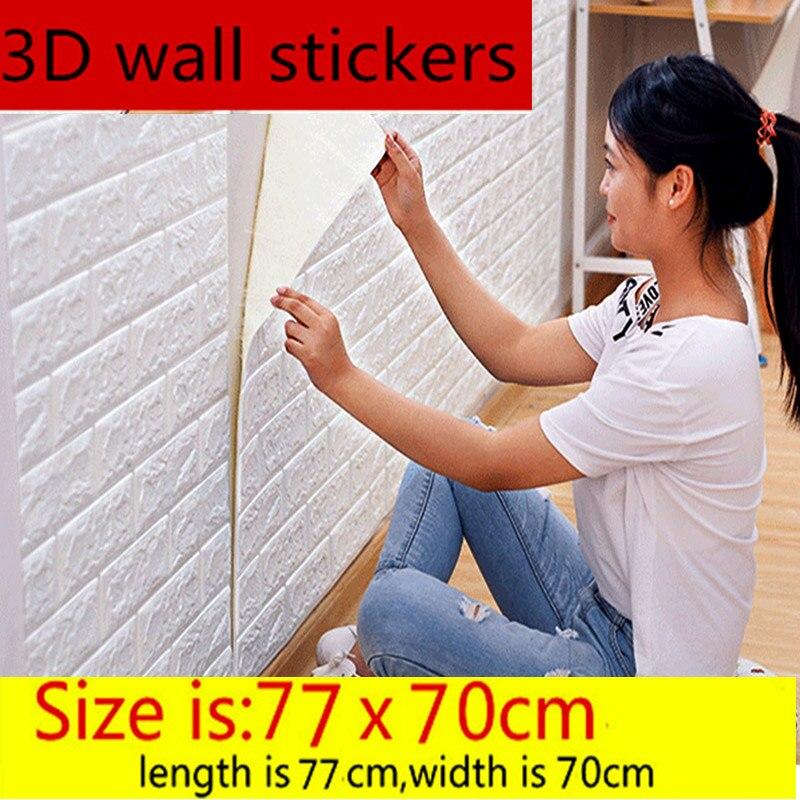 Auto-adhésif étanche TV fond brique fonds d'écran 3D mur autocollant salon papier peint Mural chambre décorative 70*77