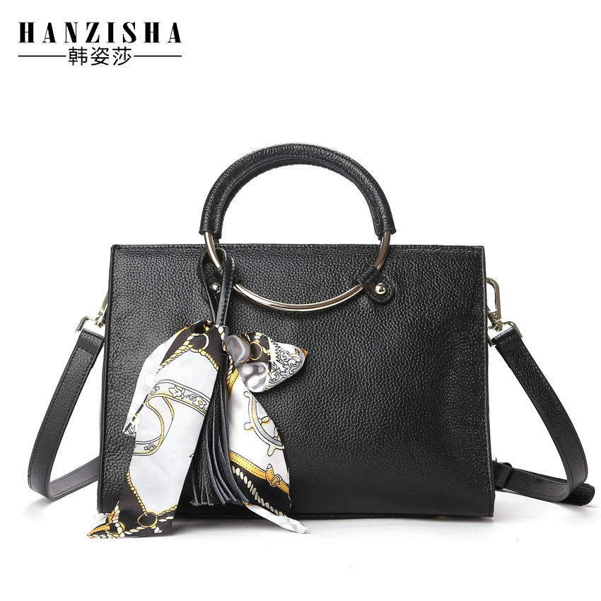 New Fashion Genuine Leather Women Bag Tassel Luxury Brand Bag Women Shoulder Bag European and American Style bolsa feminina  creative new brand women retro genuine leather shoulder bag european and american style woman bag postman package with rivets