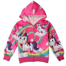 Unicorn Girls Jacket Spring Cartoon Little Pony Hoodies For Girl Full Sleeve Kids Outerwear Coats Children Clothing(China)