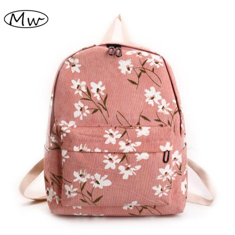 Preppy Style Flowers Printing Backpack Women Corduroy Backpack School Bags For Teenager Girls Students Travel Bag Rucksack 2017 primary school students school bag 3 6 candy color preppy style backpack