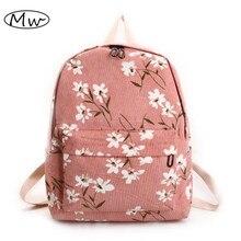 Элегантный дизайн с цветочным принтом рюкзак Для женщин вельвет рюкзак Школьные сумки для подростка Обувь для девочек студентов дорожная сумка рюкзак 2017