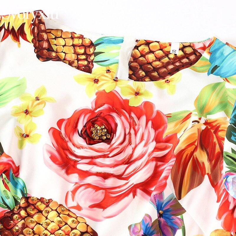 Courtes Diamant Robe Mode Manches Floral Imprimé À Fruits Partie Bouton Femmes Multi D'été Ruches Sirène Piste Sexy Svoryxiu Robes De fP7q11