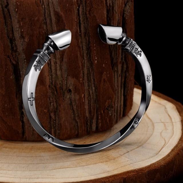 Bracelet Argent sabot de cheval Viking  3