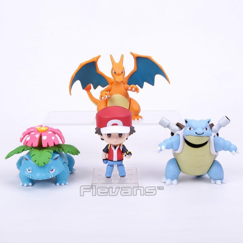 Monsters Trainer Red : Champion Ver. Ash Ketchum & Charizard & Blastoise & Venusaur PVC Action Figure Toy anime monsters ash ketchum pikachu pvc