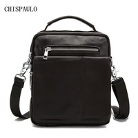 CHISPAULO Genuine Leather Vintage Men Bags Mens Bag Man Leather Briefcase Travel Bags Dispatch Travel Tote