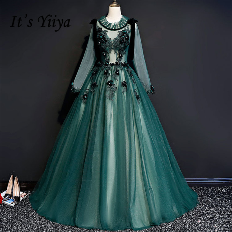 It's YiiYa   Evening     Dresses   Luxury Illusion Green Embroidery Floral Long Sleeve   Evening     Dress   Vestidos A-line Party Gown MN068