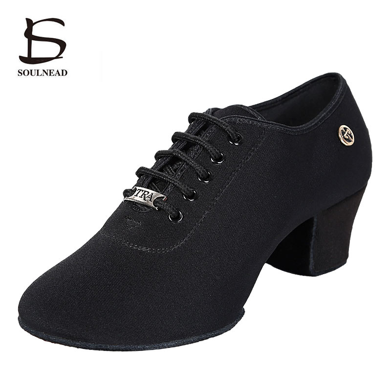Women Latin Dance Shoes Stretch Cloth Ladies Modern Jazz Dance Shoes Ballroom Dancing Shoes Soft Sole Black Red Teacher Shoes
