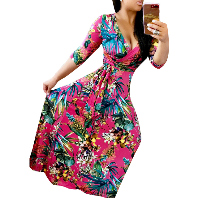 a59e615e8117 New Arrival 2017 Sexy Floral Dress Women Hot Hawaii Print Robe Beach Tunic  Dresses V Neck Long Maxi Vestidos Plus Size Clothing