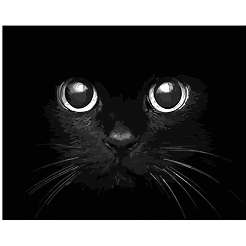Blackcat bösen erschreckend Tier DIY Digitale Malerei Durch Zahlen Moderne Wand Kunst Leinwand Malerei Einzigartige Geburtstag Geschenk Home Decor