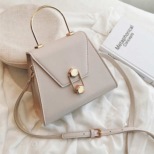 ETAILL Simple Trapezoidal PU Leather Flap Bag Sweet Girl Chain Shoulder Messenger Bag Summer Fashion High Quality PU Leather Bag