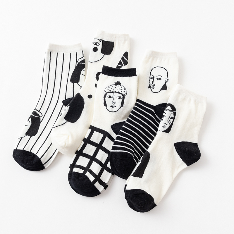 Japanese Sexy Man Women Head Face Striped Socks Solid Cotton Female Harajuku Funny Creative Cartoon Plaid Black White Couple Sox