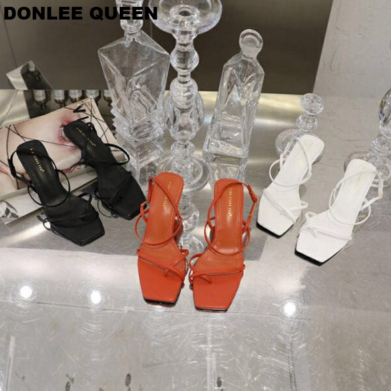 Image 2 - DONLEE QUEEN 2019 Ankle Strap Heels Women Sandals Summer Shoes Open Toe Chunky Med Heel Party Dress Shoes Narrow Band Sandal NewHigh Heels   -