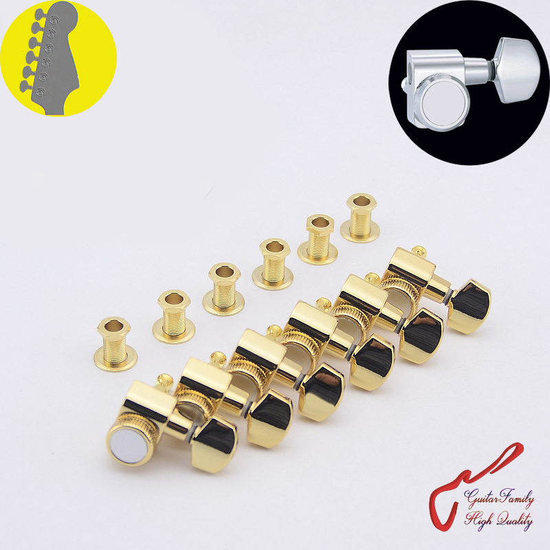 1 Set GuitarFamily  6 In-line No Screw  Locking Guitar Machine Heads Tuners  Gold  ( #0257 ) MADE IN TAIWAN 1 set guitarfamily 6 in line kluson vintage guitar machine heads tuners nickel made in korea