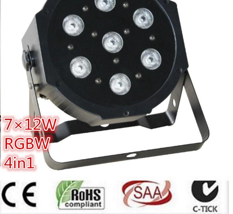 7x12W LED Flat SlimPar Quad Light 4in1 LED DJ dmx light Wash Light Stage Uplighting No Noise dmx dj light 10pcs/lot