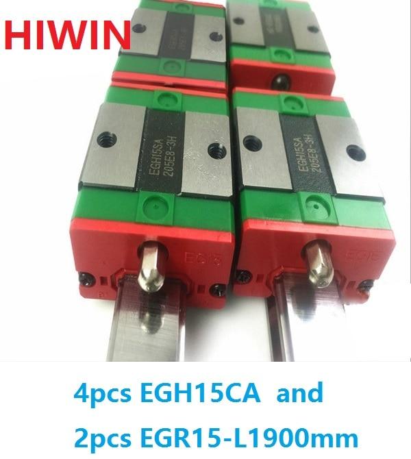 2pcs 100% original HIWIN linear rail EGR15 -L 1900mm + 4pcs EGH15CA linear block for CNC free shipping to united kingdom hiwin 8pcs egh15ca blocks 2pcs of 350mm egr15 rail 2pcs of 1000mm egr15 from taiwan