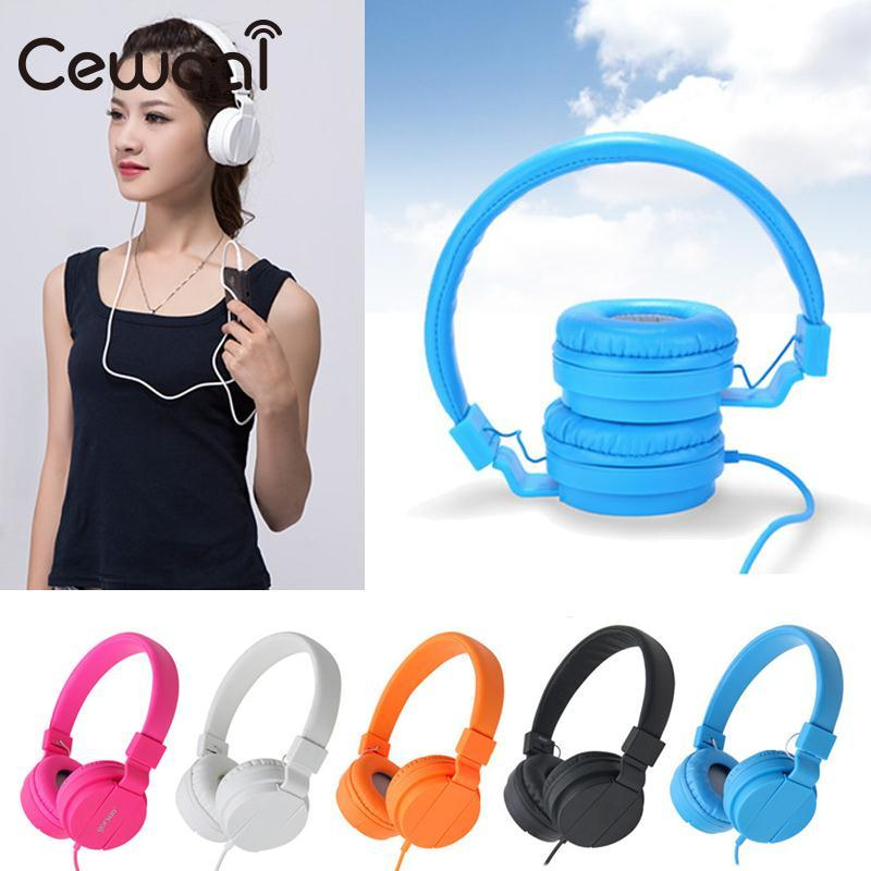Cewaal 1.2M 3.5mm Wired Foldable Stereo Headband Over-Ear Headphone Earphone Headset For Smart Phone MP3 PC portable 3 5 jack wired headphone ear shaped cute foldable stereo headset sport led light gamer games headphones