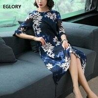 Loose Elegant Women S Dress Summer New Korean Fashion Ladies Dark Blue Floral Print Pockets Casual