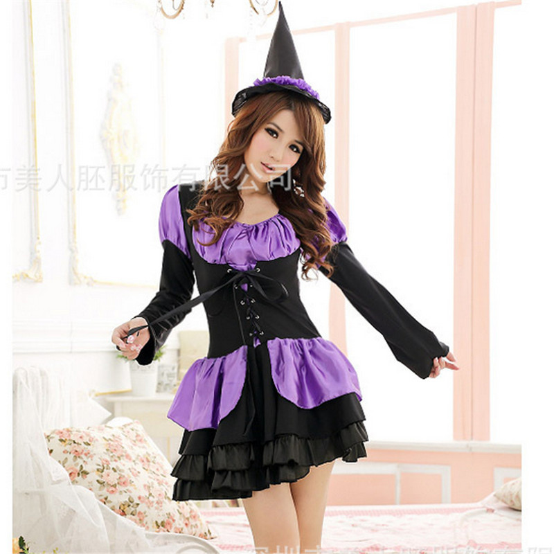 High Quality Long sleeve Purple Witch Costume Halloween Spirit Noble Masquerade Witch Cosplay Dress 2018 new Halloween Costumes