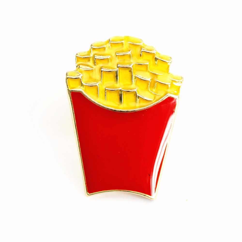 Timlee x285 kartun doughnut french fries popcorn makanan ringan logam bros pins hadiah grosir