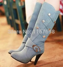 2016 autumn denim boots high-heeled shoes sexy women's shoes winter boots high-leg boots plus size 43 boots