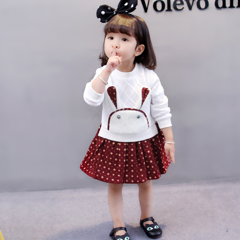 new 2017 summer 1- 8 years old children clothes child clothing girls cartoon rabbit dress baby patchwork dresses