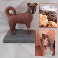 OOAK polymer clay doll wedding decoration animal cat dog pet figure statue figurines cartoon dolls real dog face sculpture gift