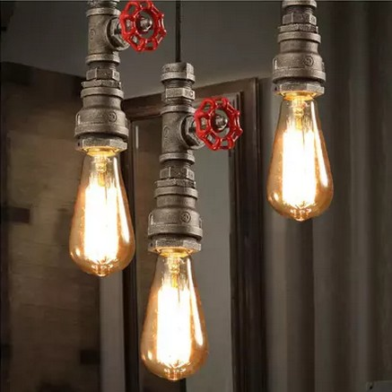 Loft Style Water Pipe Lamps Retro Pendant Light Fixtures Vintage Industrial Lighting For Living Dining Room Bar Hanging Lamp american loft style water pipe lamp retro edison pendant light fixtures for dining room hanging vintage industrial lighting