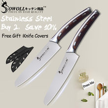 SOWOLL 4CR14 Stainless Steel Kitchen Knife 2 Pcs Set Tools Seamless Welding 5 inch Non-stick Utility Knife Energy-saving Cutter(China)