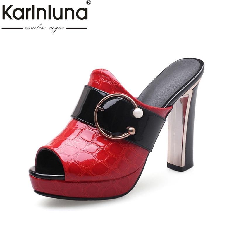 KarinLuna Women s Square High Heels Peep Toe Platform Summer Shoes Woman Buckle Mules Slippers Size