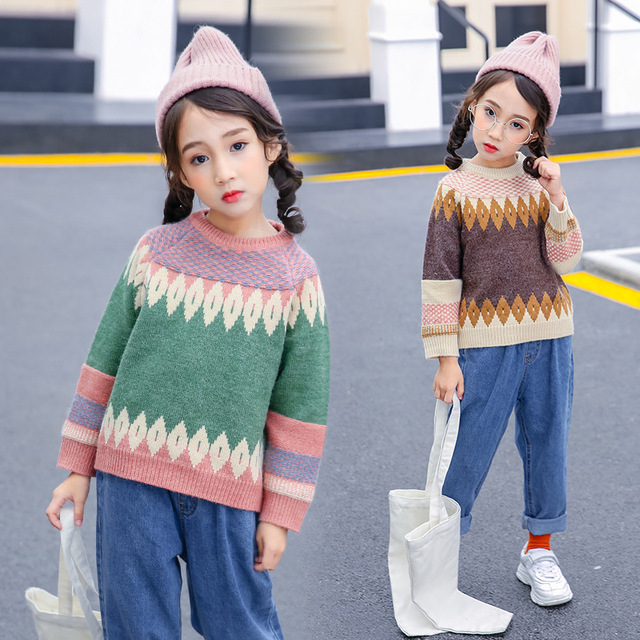3489a135a big little girls winter knitted sweaters for kids cotton long sleeve ...