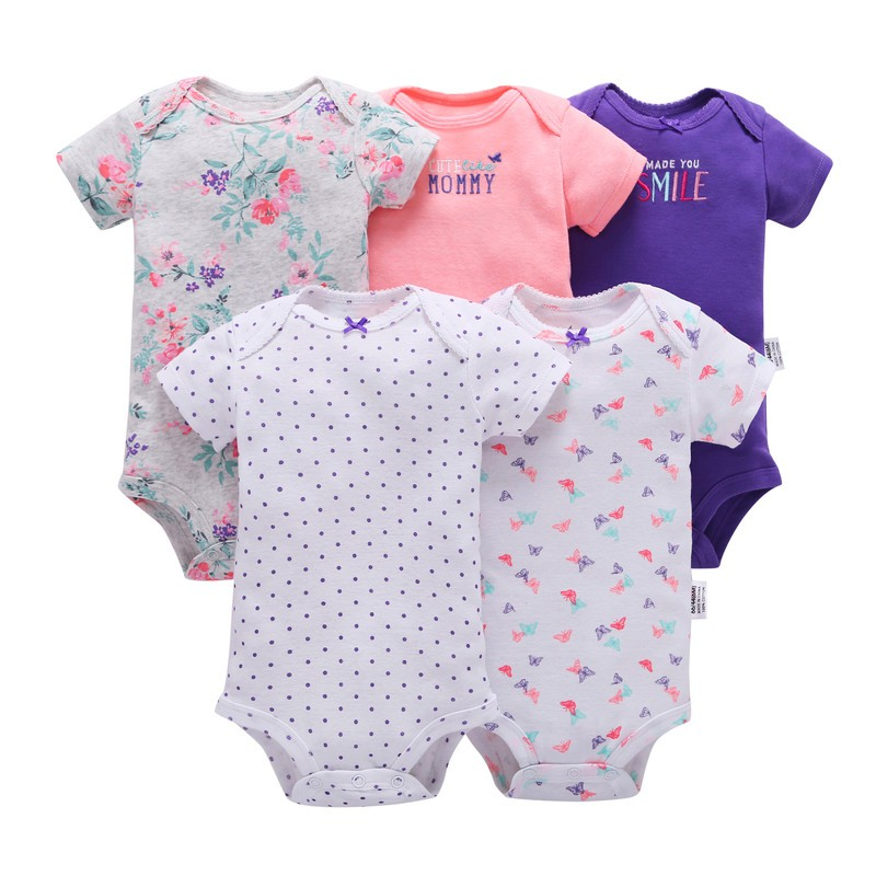 5Pcs/Set Newborn Baby Bodysuits Toddler Girls Floral Letter Print Jumpsuit Short Sleeve Infant Boys Casual Bodysuit Bodys