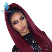 SHUMEIDA 1BT99J Red Ombre Human Hair Wigs 150 Bleached Knots Lace Front Human Hair Wigs Pre