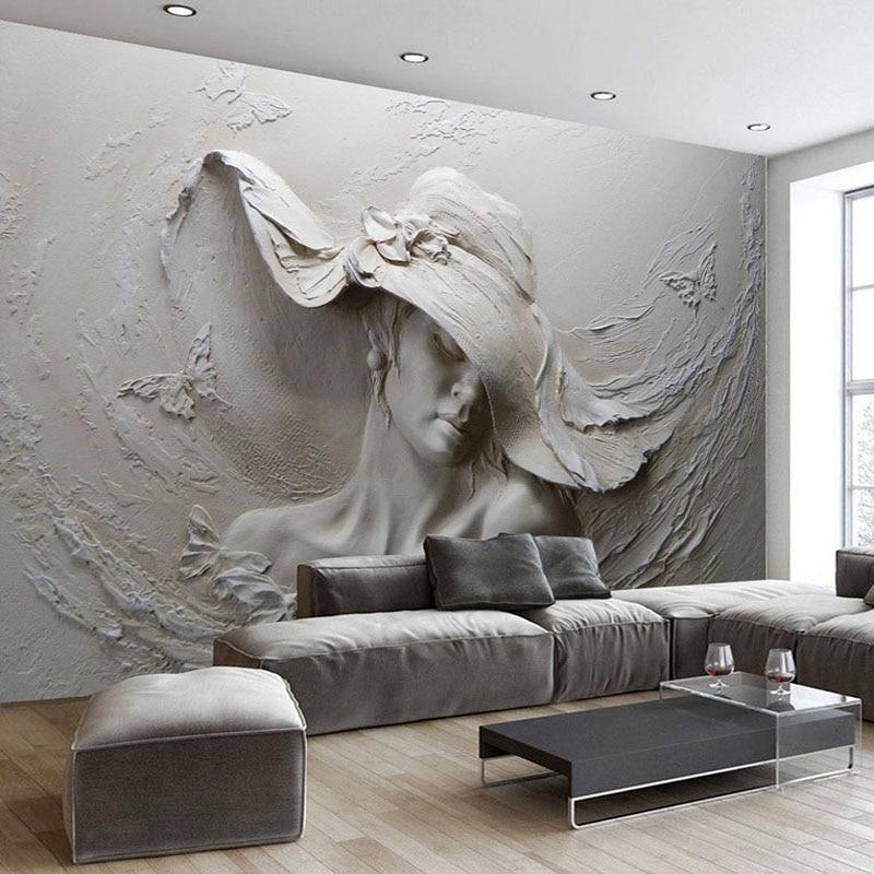 US $8.1 52% OFF|Gewohnheit Irgendeine Größe 3D Wandbild Tapete Grau  Schönheit Moderne Abstrakte Kunst Wand Malerei Geprägt Wohnzimmer Mädchen  Tapete ...