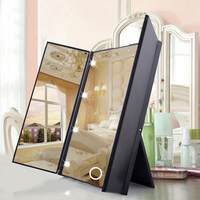 Portable Tri Sided 8 LED Lighted Makeup Mirror Cosmetic Vanity Mirror Portable Square Shape High Quality