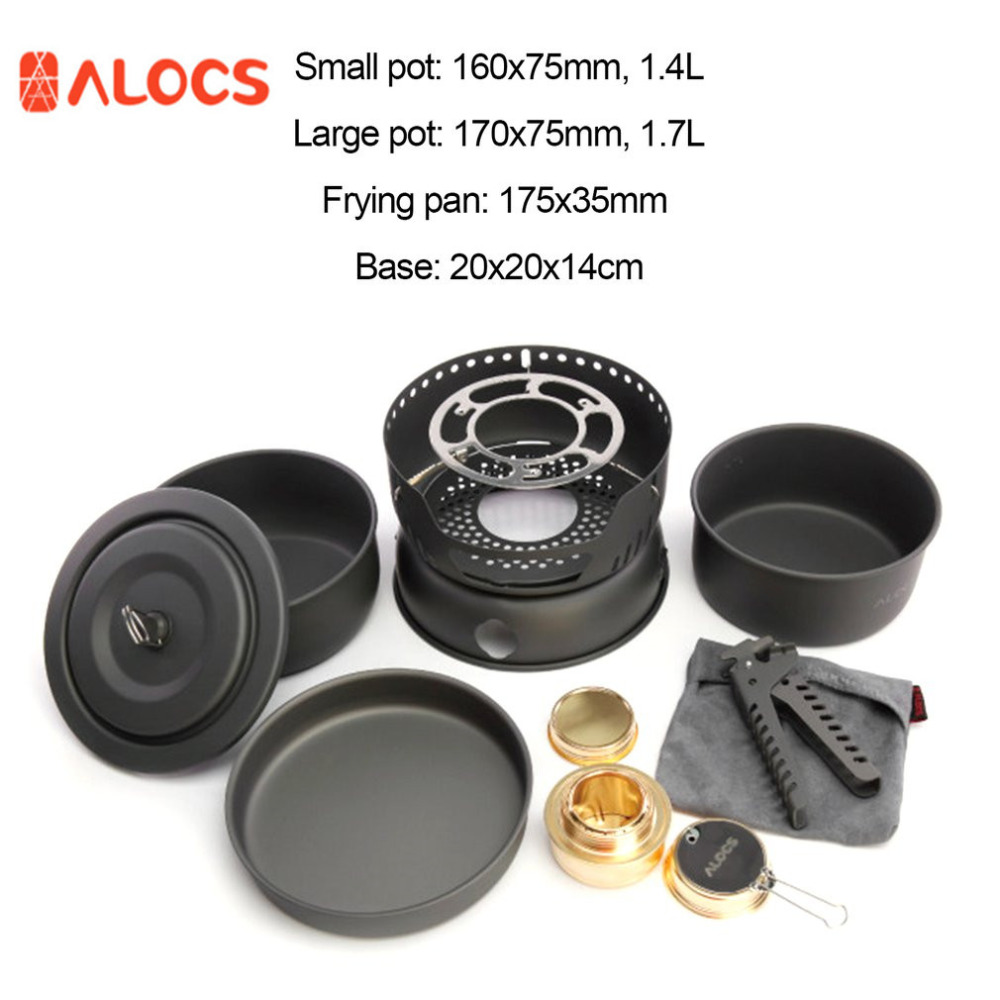 ALOCS Non-Stick Cookware 10 Sets With Alcohol Stove Portable 2-4 People Cooking Pots Frying Pan Stove for Travel Hiking Camping