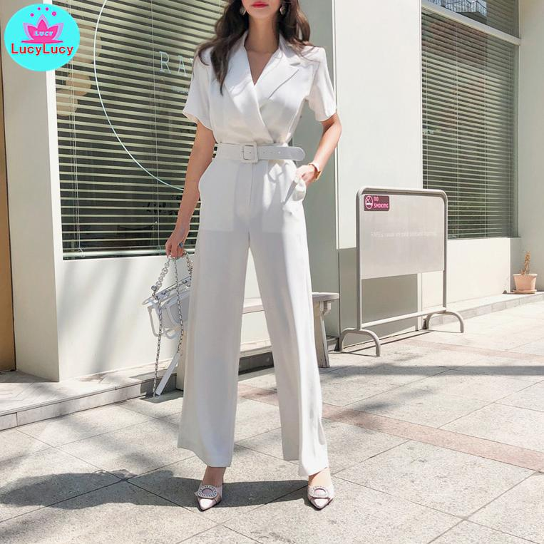 2019 Summer New Korean Temperament Suit Collar Waist Slimming Professional Casual Wide Leg Trousers Jumpsuit