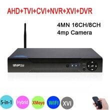 4MP,1080P,960P,720P 960H Surveillance Camera Hi3520D Xmeye 4MN 16CH/8CH 6 in 1 Hybrid XVI CVI TVi NVR AHD CCTV DVR Free shipping